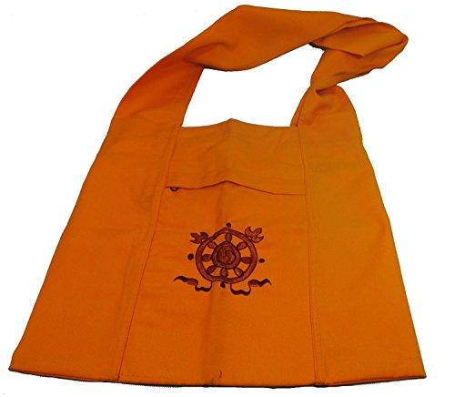 Authentic Tibetan Monk / Lama Bag bought at Boudanath Temple - Embroidered Endless Knot (Tibetan Bag)