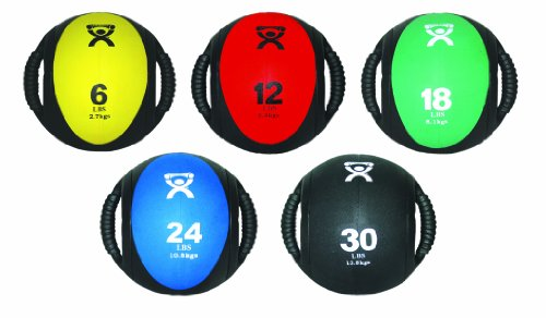CanDo 10-3185 Dual Handle Medicine Ball, 9'' Diameter, 5 Piece Set, Yellow/Red/Green/Blue/Black by Cando