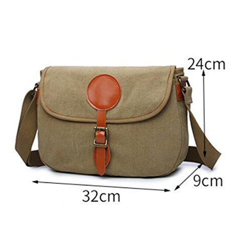 Messenger Bag Square Leather Men Cross Shoulder Chengxiaoxuan Khaki With Canvas Casual Section 4wA6IxEq