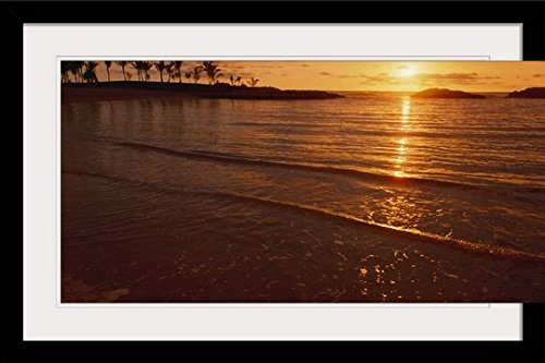 GreatBIGCanvas ''Hawaii, Oahu, Ko'olina Resort, Sunset Over ocean'' by Dana Edmunds Photographic Print with Black Frame, 36'' x 24'' by greatBIGcanvas