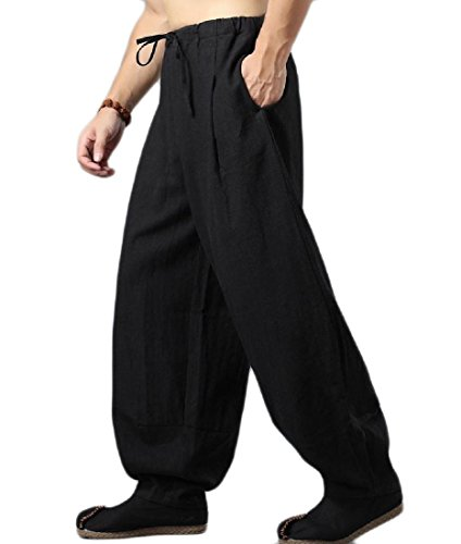 Discount SportsX Men's Chinese Style Linen Long Pants Casual Premium Simple Bloomers