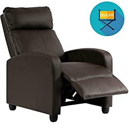 Recliner Chair for Living Room Home Theater Seating Single Reclining Sofa Lounge with Padded Seat Backrest (Brown)