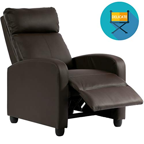 Recliner Chair PU Single Sofa Modern Reclining Seat Home Theater Seating for Living - Leather Theater Recliner Motion Home