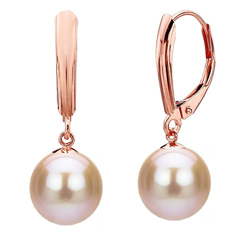 14k Rose Gold Lever-back 8-8.5mm Pink Cultured Freshwater Pearl Earrings for Women