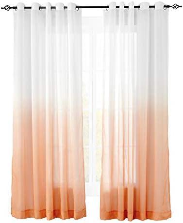 ChadMade Indoor Outdoor Gradient Ombre Sheer Curtain Nickel Grommet Orange 200″ W X 102″ L