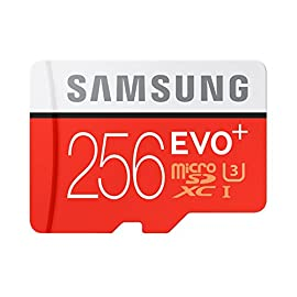 Samsung EVO+ 256GB UHS-I microSDXC U3 Memory Card with Adapter (MB-MC256DA/AM) 8 Compatible with most devices that support microSDXC cards For wide-ranging use 256GB storage capacity Allows you to capture and store plenty of pictures and videos Read speeds up to 95MB/sec, write speeds up to 90MB/sec So you can quickly transfer files