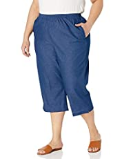 Alfred Dunner Women's All Around Elastic Waist Denim Missy Capris Pants Jeans