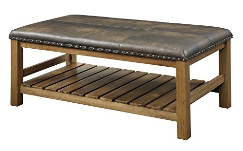 Convenience Concepts Designs4Comfort Tucson Ottoman Bench, Walnut