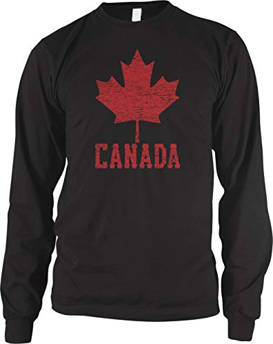 Canada Soccer Pride T-shirt - Amdesco Men's Canadian Maple Leaf, Canada Pride Long Sleeve Shirt, Black Medium