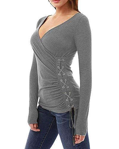 Blouse Haut Femme Croises Longues Shirts Branch Boucle Elgante Fit Chemise Blouse Uni Printemps Slim Cou Sangles Mtallique Chic Grau Manches Mode V Manche Confortable rBCqwrd