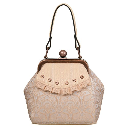 Banned Vittoriana–Free Hearts–Borsa da donna borsa a mano borsa da sera Beige