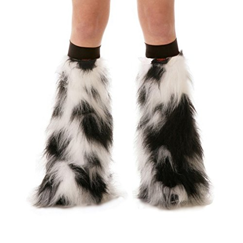 [TrYptiX Women's Fluffy Leg Warmers Black and White One Size w/ Black Kneebands] (Furry Rave Boots)