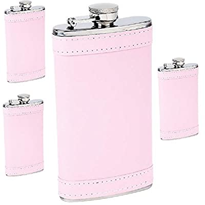 Maxam 6 Ounce Flask with Pink Wrap