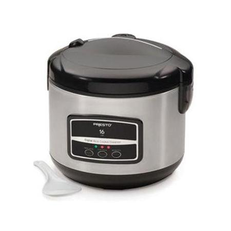 National Presto Industries 16 Cup Digital Stainless Steel Rice Cooker Steamer
