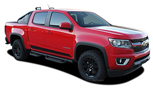 MoProAuto Pro Design Series Rampart Rockers : 2019 2018 2017 2016 2015 Chevy Colorado Lower Rocker Panel Accent Vinyl Graphic Package Stripe 3M Decal Kit (FITS All Models) (Color-3M 13 Tomato Red) -