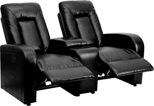 Eclipse Series 2-Seat Push Button Motorized Reclining Black Leather Theater Seating Unit with Cup Holders by Ergode