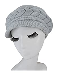 Heymei Women's Knitted Winter Hat Rabbit Fur Hat Goat Floss Lining Beanies DKJ02