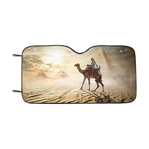InterestPrint Egypt Camel Near Pyramid and Columns Front Windshield Sun Shades, Accordion Folding Auto Sunshades for Car Truck SUV