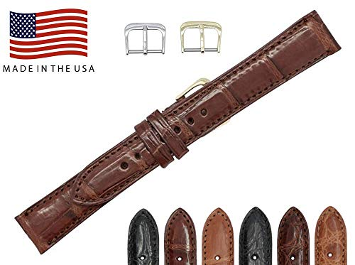- 19mm Brown Genuine Crocodile – Matte Padded Stitched – American Factory Direct - Replacement Watch Band Strap - Gold & Silver Buckles Included – Made in The USA by Real Leather Creations FBA467 LT