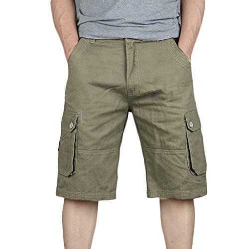 (Ninasill Hot!Men's Solid Color Straight Tooling Shorts Zippered Tethered Multi-Pocket Sports Shorts Casual Large Size Pants Yellow)