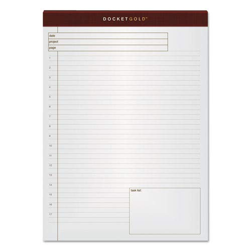 (Docket Gold Planning Pad, Ruled, 8 1/2 x 11 3/4, White, 40 Sheets, 4 Pads/Pack)