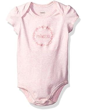 Girls' Short Sleeve Bodysuit, Baby Flamingo