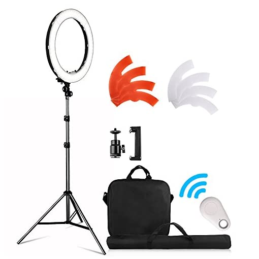 Make-Up Artist Videographer 18 Inches LED Ring Light LED Ring Lighting Kit 55W 5500K Dimmable with 2M Light Stand Work with Smartphone and Camera for Vlogging