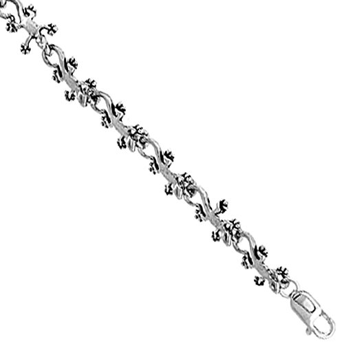 Sterling Silver Gecko Bracelet inches