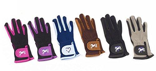 Child Grey Gloves (Ovation Child Heart & Horse Gloves,Black/grey,size A 8-10)