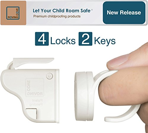 Roving Cove | Baby Proofing Magnetic Cabinet Locks | Child Safety | Safe Lock | Child Proof, No Drilling, No Tools, Drawer | 4 Locks + 2 Ring Keys | Ivory (White)