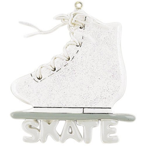 Personalized Ice Skate Shoe Christmas Tree Ornament 2019 - White Glitter Athlete Figure Coach Spins Olympian Flexible Rink Dance Profession Sport Active Blade Sparkle Tricot - Free -