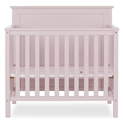 Dream On Me Ava 4-in-1 Convertible Mini Crib in Blush Pink