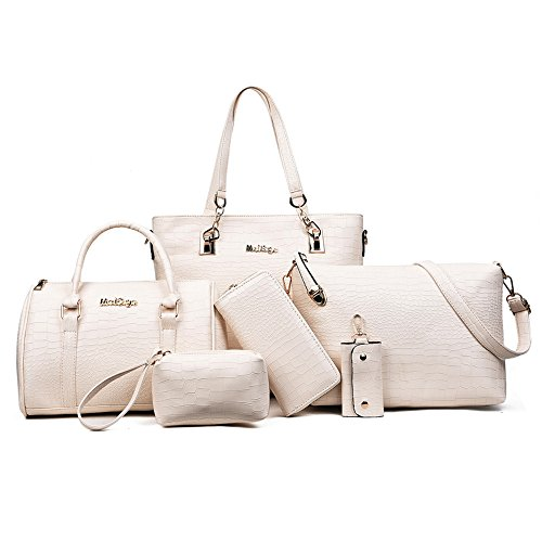 (H&X Women Totes 6 Pcs Shoulder Bags Top-Handle Handbag Purse Set (Stone Beige))