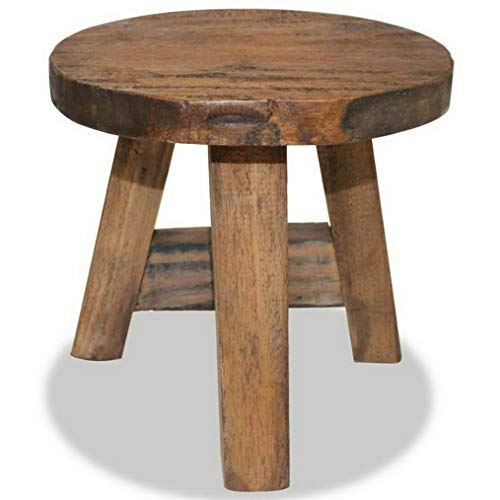 Dokis Stool Solid Reclaimed Wood Rustic Seat Footstool Rest Side Couch Sofa | Model SF - ()
