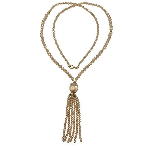 (Long All Glass Beaded Tassel Necklace (Light Brown Topaz))