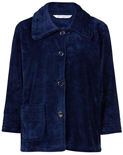Slenderella Ladies 3/4 Sleeve X Large Luxury Soft Navy Fleece Button Up Bed Jacket Blue Bed Jacket