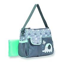 Babyboom Duffle Diaper Bag Elephant, Grey/Green