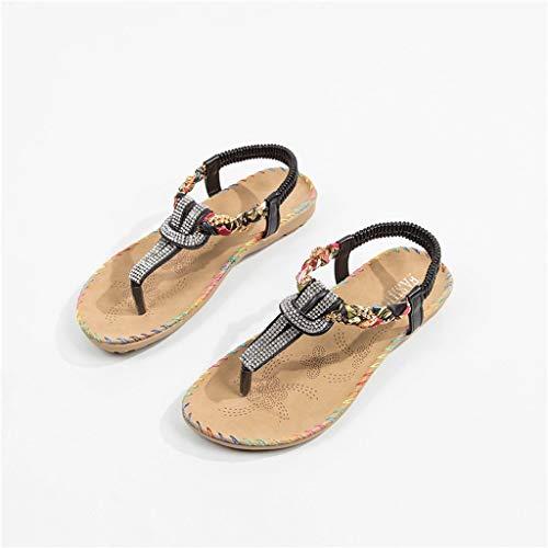 Non Spiaggia slip Per Vacanza 35 Moda Bazhahei Piatti Shopping Scarpe Donna 40 Black Casuale Sandali Selvaggi Da IxFYqC
