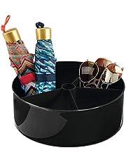 mDesign Lazy Susan pojemnik do przechowywania – okrągły obrotowy organizer z 5 przegródkami – idealny pojemnik na kosmetyki i kosmetyki – czarny