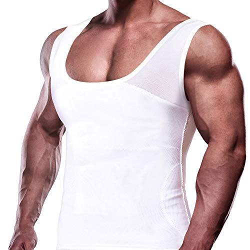 GKVK Mens Slimming Body Shaper Vest Chest Compression Shirt Abs Abdomen Slim Tank Top Undershirt White
