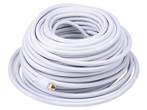 Monoprice 100ft RG6 (18AWG) 75Ohm, Quad Shield, CL2 Coaxial Cable with F Type Connector - White (White Shield Inc)