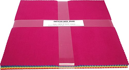 American Made Brand Cotton Solids Brights 10'' Squares 42 10-inch Squares Layer Cake by American Made Brand