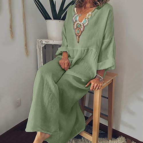 JIN+D Loose Casual Plus Size Dresses for Women Cotton Linen V-Neck Long Sleeve A-Line Long Sundress Green