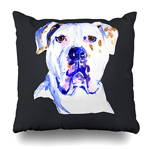 Ahawoso Decorative Throw Pillow Cover Pit Adorable Watercolor Dog American Bulldog Puppy Abstract Baby Breed Bull Bully Cute Home Decor Pillowcase Square Size 18