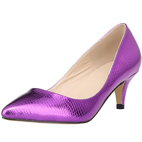 (SAMSAY Women's Slender Kitten Heels Pointed Toe Pumps Court Shoes)