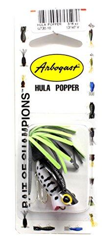 - Arbogast Hula Popper - Coach Dog - Black/Chartreuse Skirt - 1 1/4