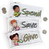 Give, Save, Spend Cash Envelopes for Kids-Budget Keeper Jr-Set of 3 Zipper Pouches for Children Saving Money