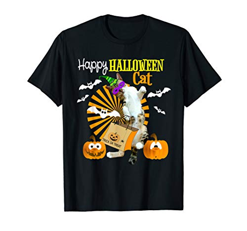 HAPPY HALLOWEEN CAT T Shirt Dancing Cat Pumpkins Bat Tee -