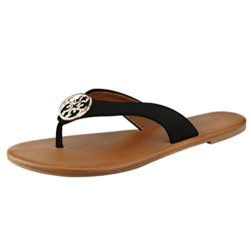 SANDALUP Women' s Flip Flops Casual Flat Sandals Black 09