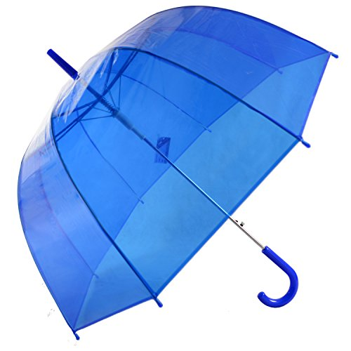 Kung Fu Smith Blue Auto Open Clear Bubble Umbrella for Rain, Dome Shaped